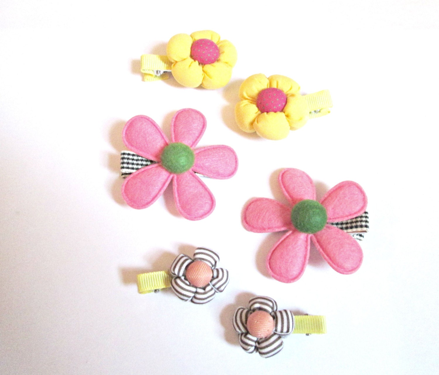 Fabric flower hair clips flower clips fabric by colorsplashh