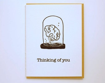 Brain in a Jar - Thinking of You - Letterpress - Greeting Card - Crane Lettra - kraft - brain - A2