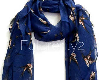 Flying Swallow Birds Navy Blue Scarf / Spring Summer Scarf / Autumn Scarf / Women Scarves / Gifts For Her / Accessories / Handmade