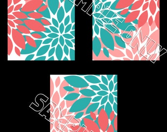 Turquoise Teal Coral Flowers Floral Wall Art Prints Girls Room, Dorm, Nursery 5x7 8x10