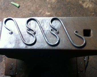 S hooks, set of 3. Blacksmith made, hand forged in Shropshire.