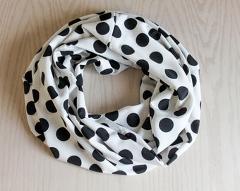Handmade Infinity Scarf Black and White Polka Dot Print, Fashion Accessories, Scarves & Wraps, Gift Idea Gifts for Her, Eternity Scarf, Wrap