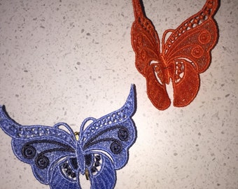 Embroidered butterflies