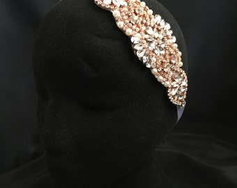 ROSE GOLD Headband Bridal Headband, Crystal Rhinestone Headband,Tiara, Bridal Hair Accessories, wedding hair piece bride bridal headband