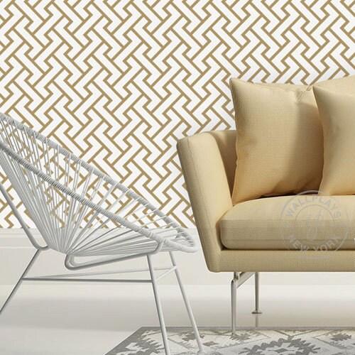retro geometric pattern gold removable wallpaper peel