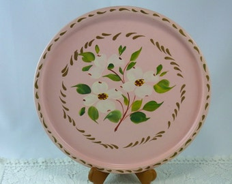 Hand Painted Tole Tray Vintage Pink Cottage Chic Shabby Decor