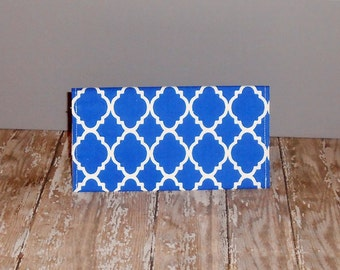Checkbook Cover- Blue Quatrefoil - Blue Lattice