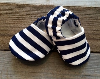 Navy blue and white striped baby booties,