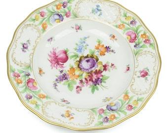 Vintage Schumann Dresden Porcelain plate - Gold trimmed floral design