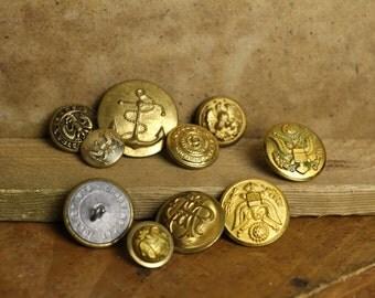 10  Old Vintage Misc. Gold  Uniform Buttons Item#241