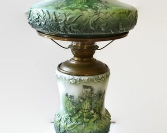 Antique Vintage Victorian Gone With The Wind Hurricane Table Parlor Green Lamp Oil To Electric Renaissance Period People Design