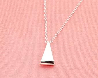 Original Rhodium Plated, Simple Skinny Triangle Tube  Pendant, Necklace