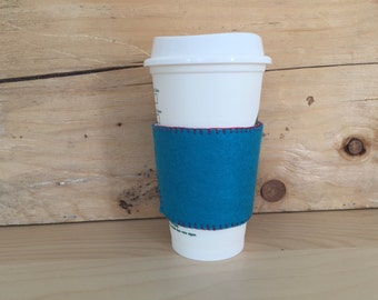 Felt Cup Sleeve - Turquoise/White