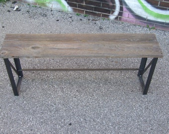 Barn wood and Angle Iron Industrial Style Bench