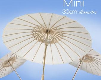 Mini 30cm - Set of 5 - White Paper Parasols / Paper Umbrella - DIY Wedding Accesories, Party Decor, Bridal, Baby Shower, Handicraft, Props