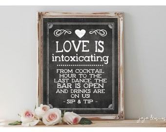 INSTANT 'Love is Intoxicating' Drinks are on us! SIP & TIP Printable Sign Tip Jar Chalkboard Wedding Open Bar Printable Party Size Options