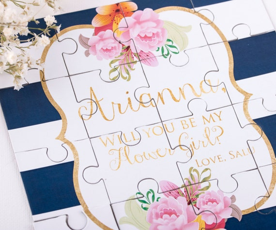 Gold and Navy Bridesmaid Puzzle Invitation, Will You Be my Bridesmaid Asking Bridesmaid Proposal, Maid of Honor Puzzle