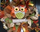 Owl Mesh Wreath, Fall Deco Mesh Wreath, Autumn Mesh Wreath, Front Door Wreath, front door wreath, Deco Mesh Wreath