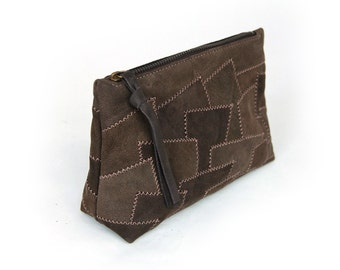 In patchwork leather cosmetic bag