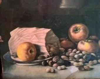 Antique Vintage Framed Fruit Art Picture Wall Hanging