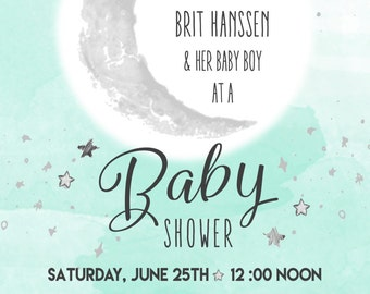 Printable 5x7 Moon & Star Gender Neutral Blue Baby Shower Invitation - Customizable