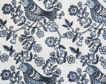 Floral Sparrow in Blue Ink KNIT by Stenzo Textiles, Premium Euro Cotton - Spandex Jersey Knit, Netherlands 5529