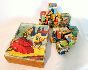 Vintage wooden block puzzle game, French 1950s