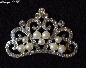 Pearl and Rhinestone Tiara Button For Headbands, Weddings, and Crafts; DIY, Rhinestone Embellishment, Applique, Cabochan, Wholesale