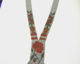 Native American Beadwork Rose motif Necklace