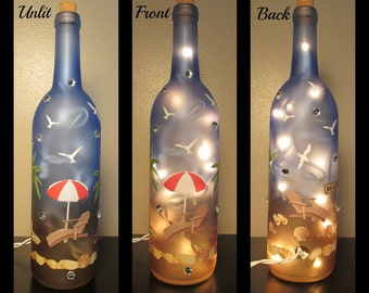 Beach Lighted Wine Bottle Night Light