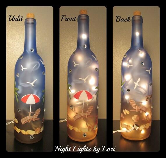 Beach lighted wine bottle night light for Light up wine bottles