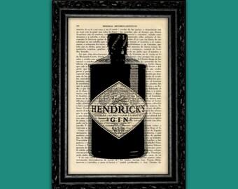 Gin Hendrick's Bottle Art Print Hendrick's Art Decor Birthday Gift Print Present Wall Decor Poster Book Art Dorm Room Print (Bottle Nº4)