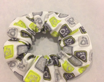 Grey and green paw print hair scrunchie/fabric hair tie