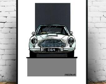 Classic Aston Martin DB4 Bond car art print illustration