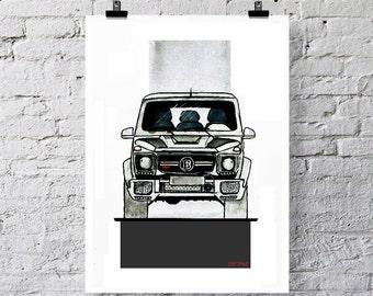 Mercedes AMG G 63 Brabus Art print illustration