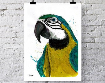 True Parrot, Art print, Greetings card. Parrot illustration, Parrot art, Parrot print, Bird art, Bird print