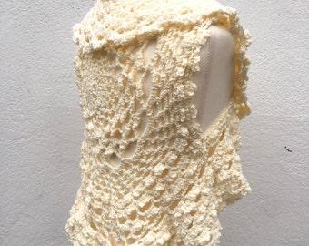 Girls Bolero, Hand Knitted Bolero, cream girl's bolero, Vest , flower girl knit  Bolero, Vest