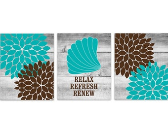 wall art relax refresh renew prints teal and brown bathroom decor