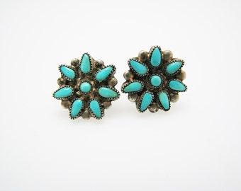Lovely Sterling Silver & Turquoise Flower Screw Back Earrings