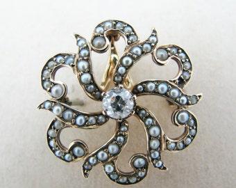 a635 Beautiful 14k Yellow Gold Filigree Brooch/ Pendant with Diamond Seed Pearls