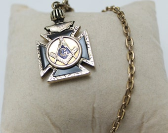 Vintage Pocket Watch CHAIN with Mason Fob