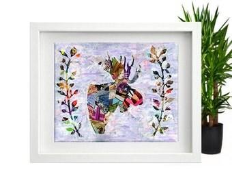 Cute moose decor, baby decor, nursery decor, Moose wall art, Mixed Media collage art, Bohemian decor, Woodland decor, Moose antler