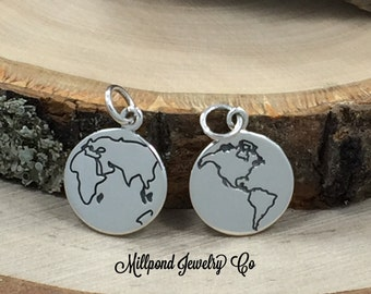 Globe Charm, Etched Globe Charm, World Charm, World Pendant, Round Globe Charm, Sterling Silver Charm, Globe Trotter Charm, PS01428