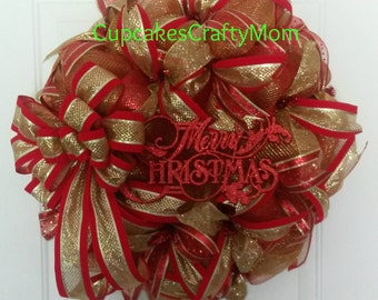 Christmas Wreath, Christmas Deco Mesh Wreath, Merry Christmas Deco Mesh Wreath, Merry Christmas Wreath, Christmas Mesh Wreath