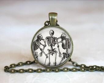 HUMAN SKELETONS Pendant • Three Skeletons • Dancing Skeleton • Gift Under 20 • Made in Australia (P0539)