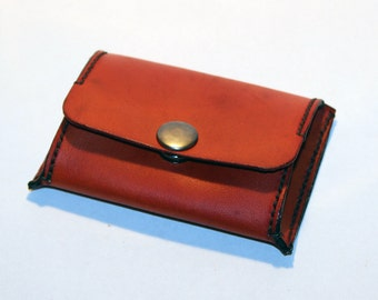 Leather coin wallet, orange coin wallet, great leather item, orange men's wallet, small coin wallet, gift for men.