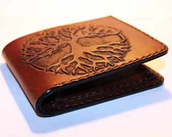 Leather wallet with Tree of Life, great leather item, brown men's wallet, credit card wallet, gift for men, leather wallet with mjolnir.