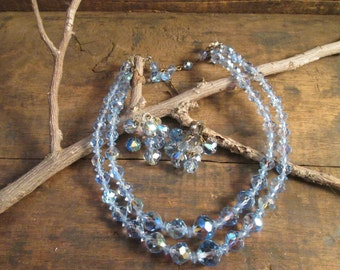 Vintage Double Strand Light To Medium Blue Crystal Necklace and Cluster Drop Clip Earrings
