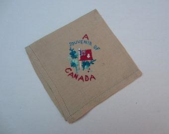 Canada Embroidered Vintage Souvenir Handkerchief, Vintage Canada Souvenir Hankie, Canada Vintage Handkerchief, Hankie, Vintage Embroidered