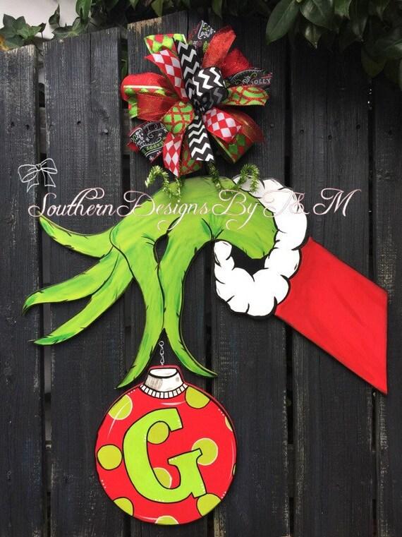 Grinch Hand Door Hanger Christmas